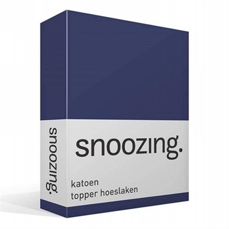 Snoozing katoen topper hoeslaken - 100% katoen - 1-persoons (80x220 cm) - Navy