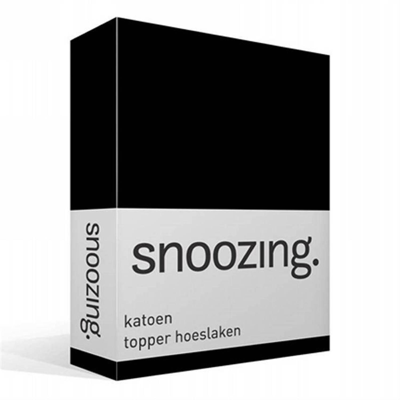 Snoozing katoen topper hoeslaken 100 katoen 1 persoons (80x220 cm) Zwart