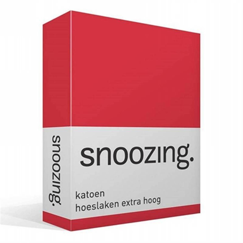 Snoozing katoen hoeslaken extra hoog - 100% katoen - 2-persoons (140x200 cm) - Rood