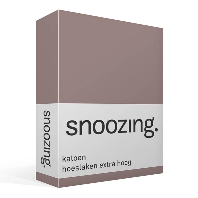Snoozing katoen hoeslaken extra hoog - 100% katoen - 2-persoons (140x200 cm) - Taupe