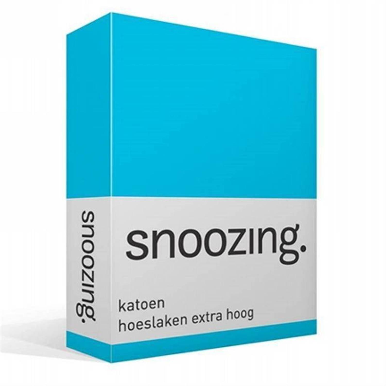 Snoozing katoen hoeslaken extra hoog - 100% katoen - Lits-jumeaux (160x200 cm) - Blauw, Turquoise
