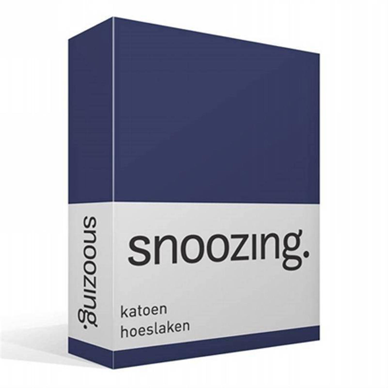 Snoozing - Katoen - Hoeslaken - 180x220 - Navy