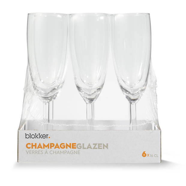 Blokker champagneglazen - 16 cl - set van 6