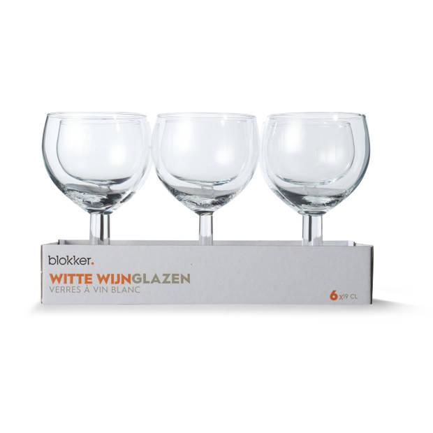 Blokker Witte Wijnglazen 19cl S/6