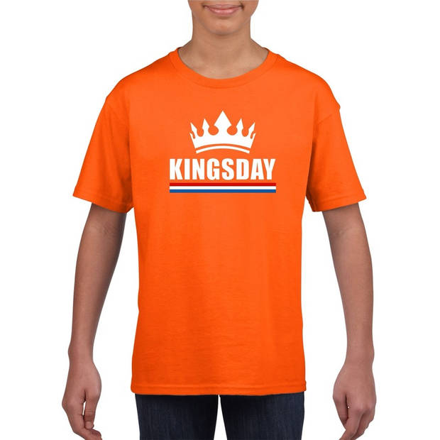 Oranje Kingsday met een kroon shirt kinderen - Oranje Koningsdag kleding XL (158-164)