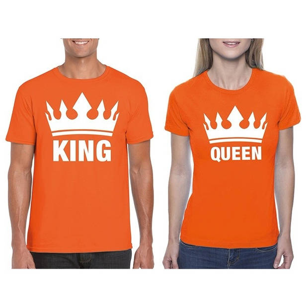 Koningsdag koppel King & Queen t-shirt oranje maat M