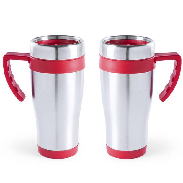 RVS thermosbeker/warmhoud koffiebekers rood 500 ml - Isoleerbekers/reisbekers
