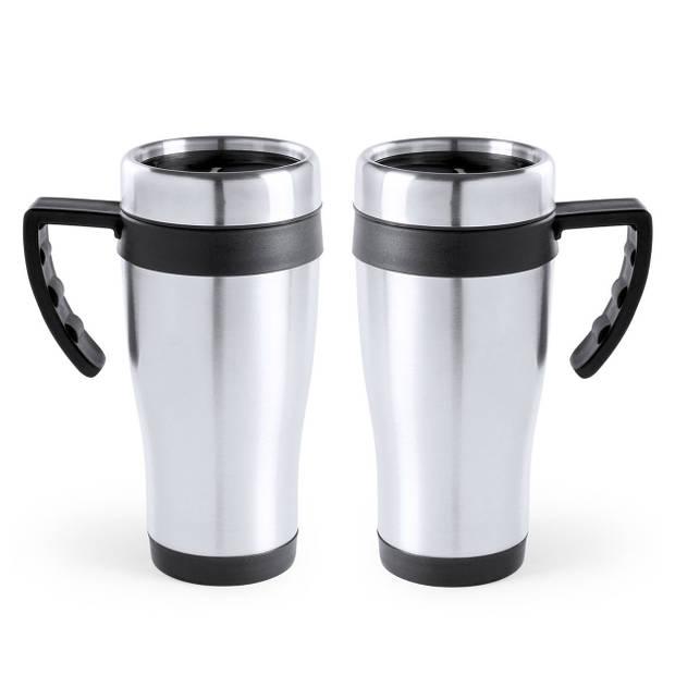 RVS thermosbeker/warmhoud koffiebekers zwart 500 ml - Isoleerbekers/reisbekers