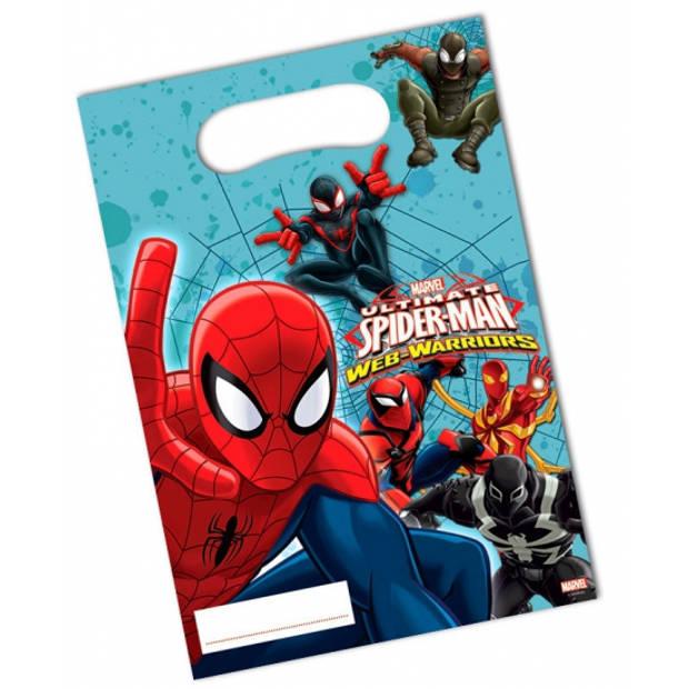 6x stuks Spiderman Warriors feest cadeau uitdeelzakjes - snoepzakjes - cadeau zakjes kinderverjaardag