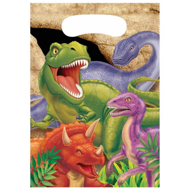 8x stuks Dinosaurus thema uitdeelzakjes/feestzakjes/traktaties - Kinderfeestje/kinder verjaardag Dino
