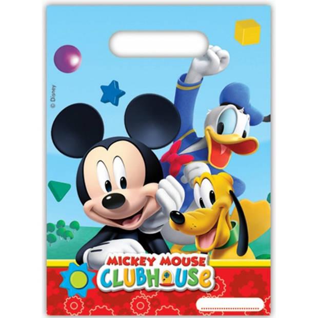 Mickey Mouse kinderfeest thema feestzakjes - 6x stuks - uitdeelzakjes/snoepzakjes/cadeauzakjes