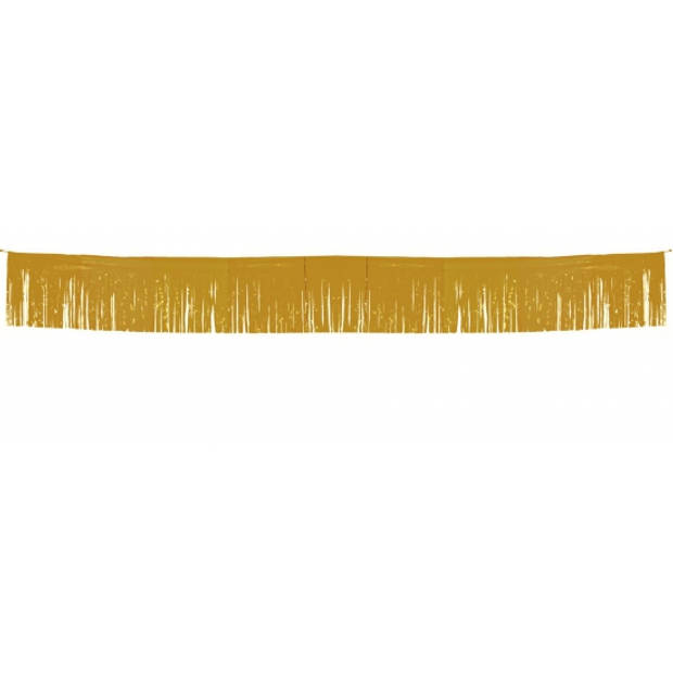Franje folie feestslingers goud van 6 meter - Rand/wand gouden versieringen feestartikelen