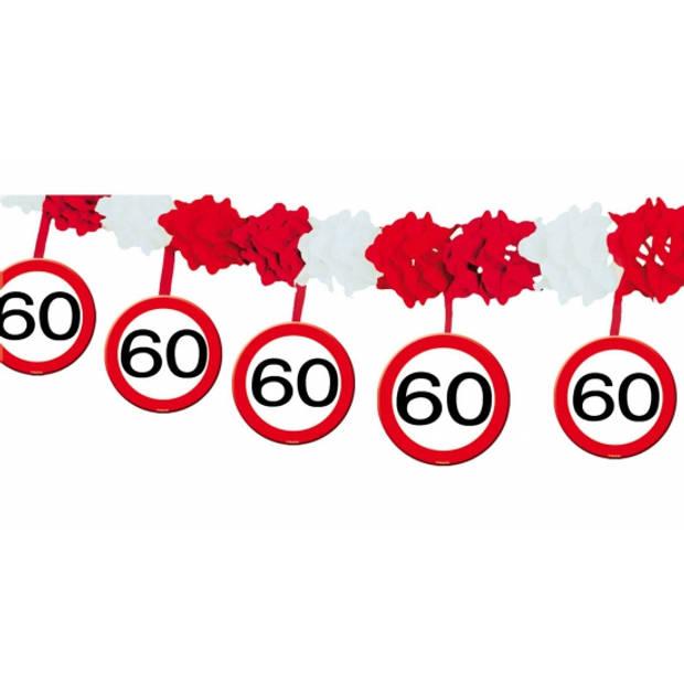 60 jaar verjaardag feest slingers met stopborden van 4 meter - Feestartikelen/Versiering