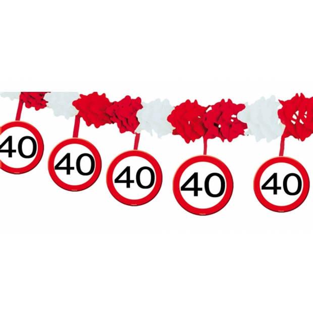 40 jaar verjaardag papieren feest slingers met stopborden van 4 meter - feestartikelen/versiering
