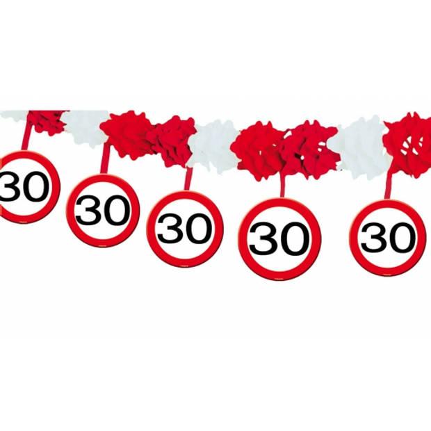 30 jaar verjaardag slingers met stopborden van 4 meter - Feestartikelen/versiering