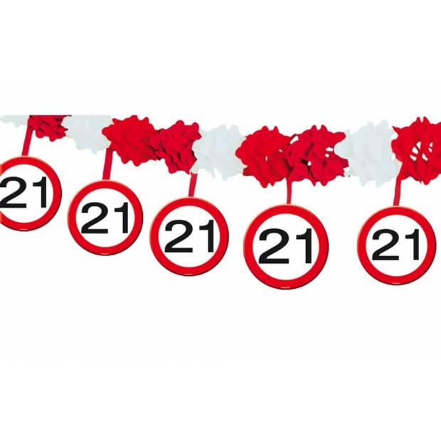 Verkeersborden verjaardag feest slingers 21 jaar van 4 meter - Feestartikelen/versiering