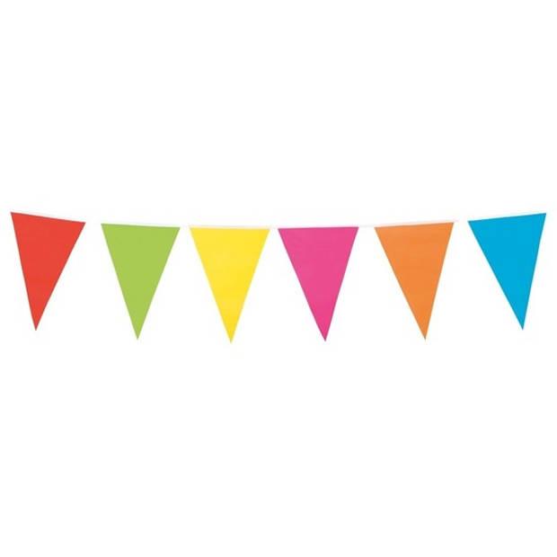 Vlaggenlijn in vrolijke kleuren 10 meter - binnen/buiten feest vlaggetjes