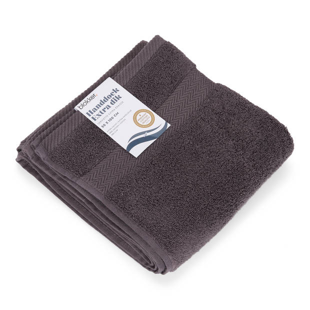 Blokker handdoek 600g - donkergrijs 50x100 cm