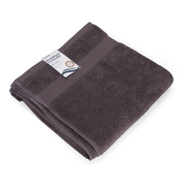 Blokker handdoek 600g - donkergrijs 140x70 cm