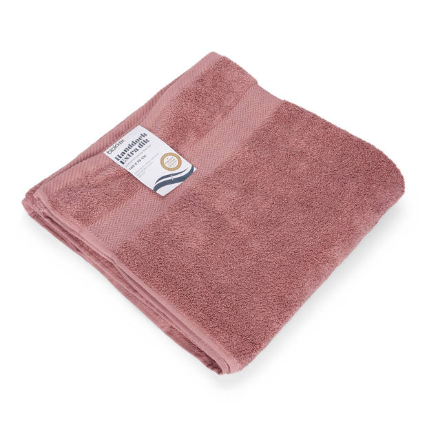 Blokker handdoek 600g - roze - 140x70 cm