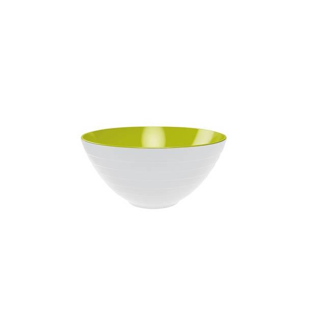 Zak!Designs Saladeschaal Wave incl Saladebestek 28 cm, Wit/Groen - Zak! Designs