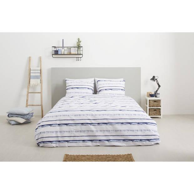 Blokker dekbedovertrek - 240x200/220 cm - wit/blauw - strepen