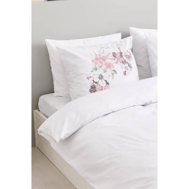 Blokker dekbedovertrek - 200x200 cm - wit/roze