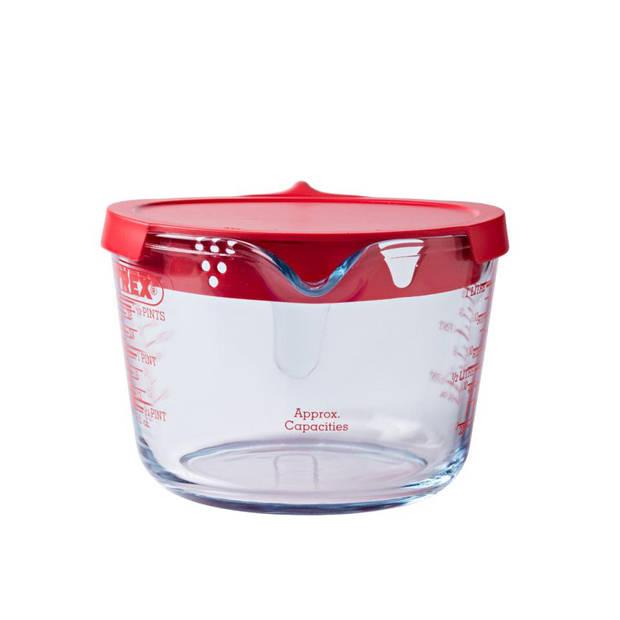 Pyrex maatbeker - met deksel - 1 liter