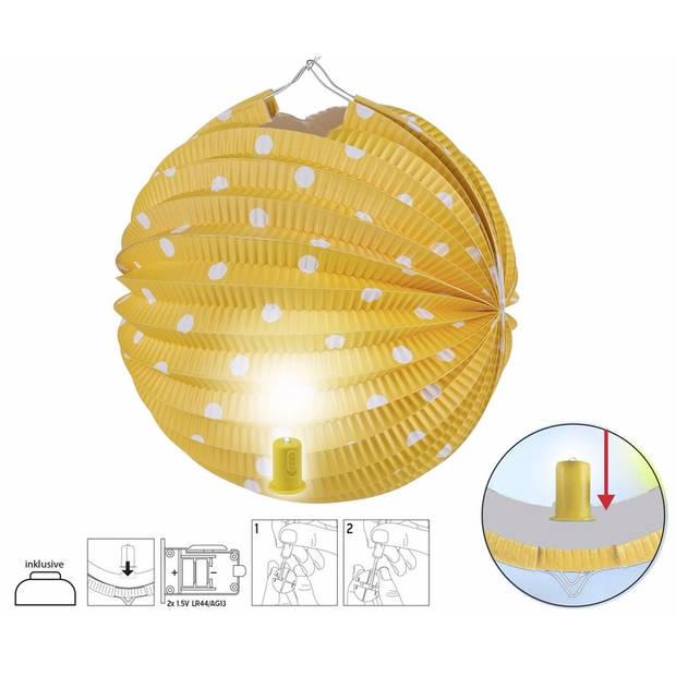 Gele lampion met witte stippen 20 cm
