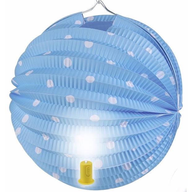 Blauwe lampion met witte stippen 20 cm