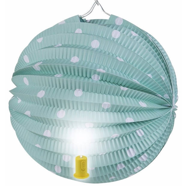Groene lampion met witte stippen 20 cm
