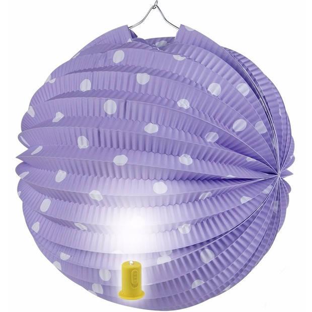 Lila lampion met witte stippen 20 cm