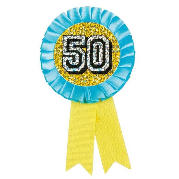 Rozet 50 jaar holografisch geel/blauw