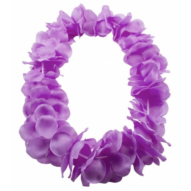 Hawaii slingers/kransen neon paars.- Hawaii bloemen thema verkleed accessoires.