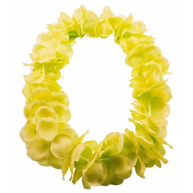 Hawaii kransen bloemen slingers neon geel - Verkleed accessoires