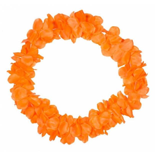 Hawaii bloemen slingers neon oranje - Oranje fans artikelen - Koningsdag