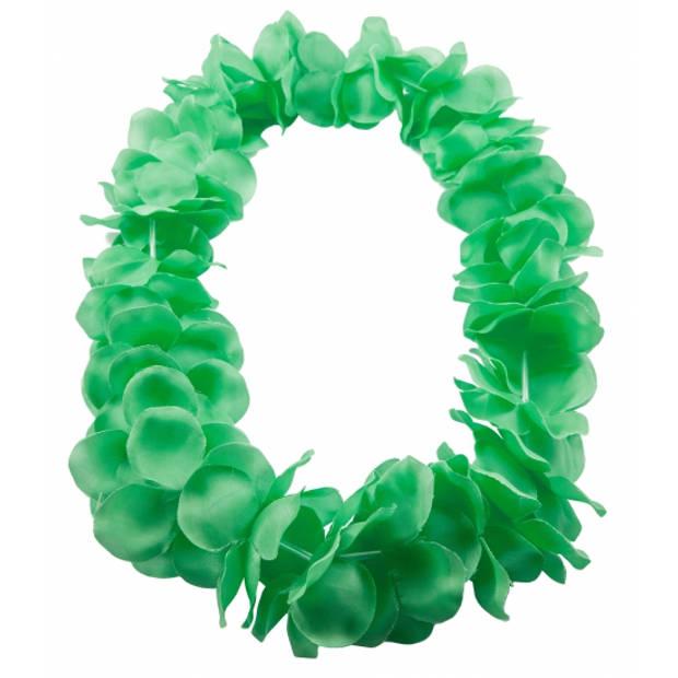 Hawaii kransen bloemen slingers neon groen - Verkleed accessoires