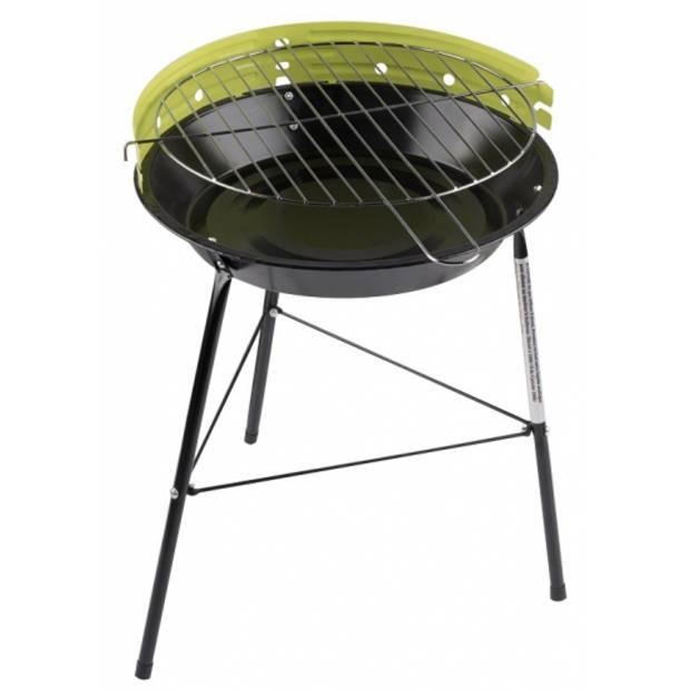 Ronde barbecue / grill groen - 43 x 33 cm - voordelige houtskool bbq