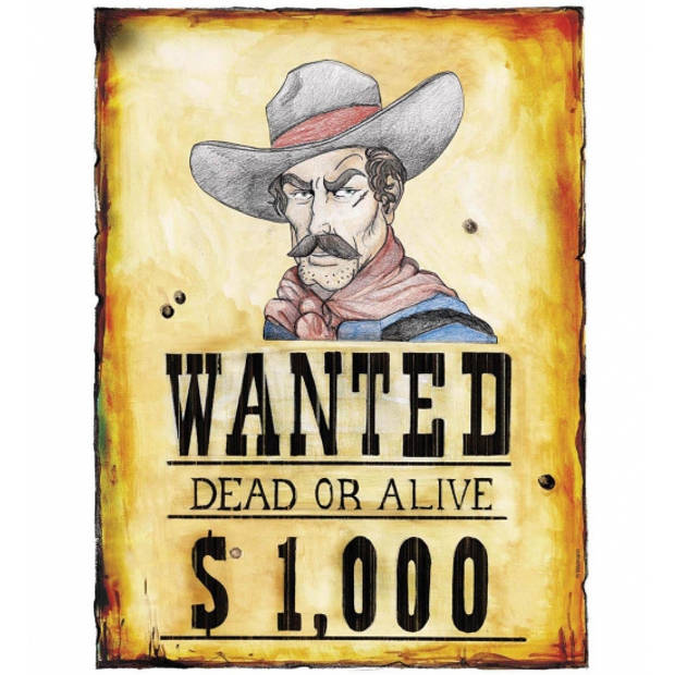 Schild Wanted Dead or Alive