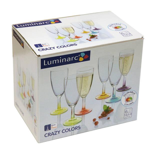 6x gekleurde champagne glazen - 140 ml - assorti gekleurd