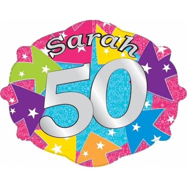 Sarah 50 jaar kroonschild van karton
