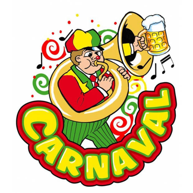 Carnaval thema versiering raamsticker herbruikbaar muzikant met trombone 35 x 40 cm