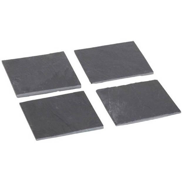 Leisteen glasonderzetters 12 stuks 10 cm
