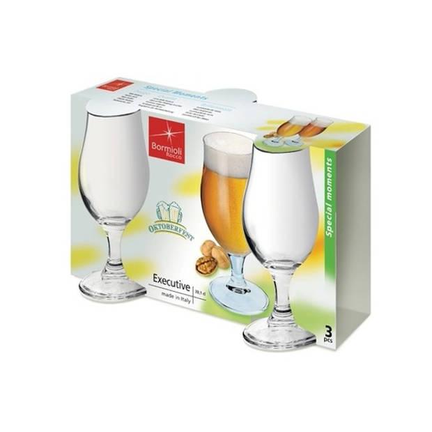 3x speciaalbier glazen set - 375 ml - tulpvormige bierglazen op voet