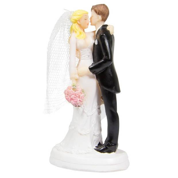 Bruidstaartdecoratie - 14 cm - bruiloft taarttopper figuurtjes