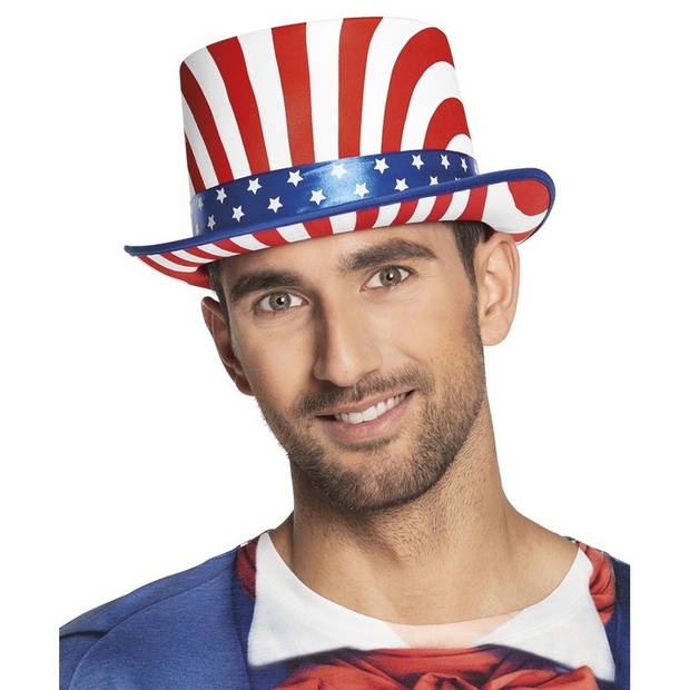 Luxe hoge hoed USA - volwassenen - Amerika feesthoed