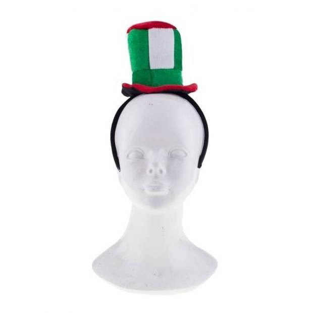 Pluche diadeem met groen/rood hoedje - Verkleed accessoires Italiaanse hoed haarband