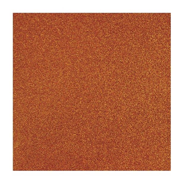 1x stuks oranje glitter papier vellen 30.5 x 30.5 cmm - Hobby scrapbooking artikelen
