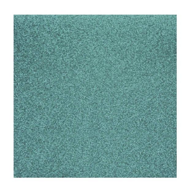 1x stuks turquoise blauw glitter papier vellen 30.5 x 30.5 cmm - Hobby scrapbooking artikelen