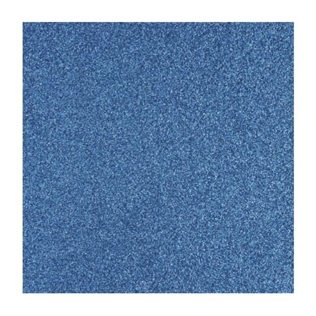 1x stuks blauwe glitter papier vellen 30.5 x 30.5 cmm - Hobby scrapbooking artikelen